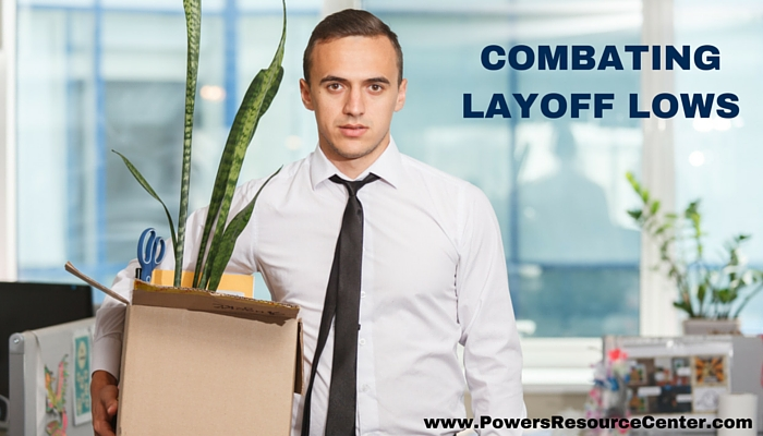 graphic that says combating layoff lows