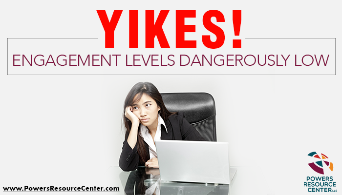 graphic that says yikes! employee engagement levels dangerously low