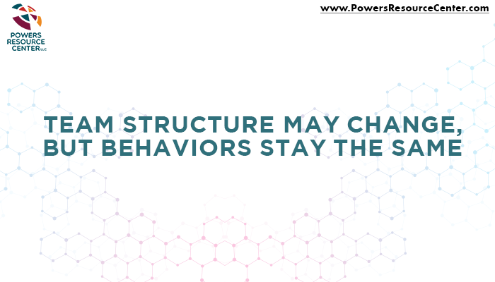 graphic that says team structure may change but behaviors stay the same