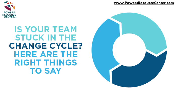 graphic that says is your team stuck in the change cycle? here are the right things to say