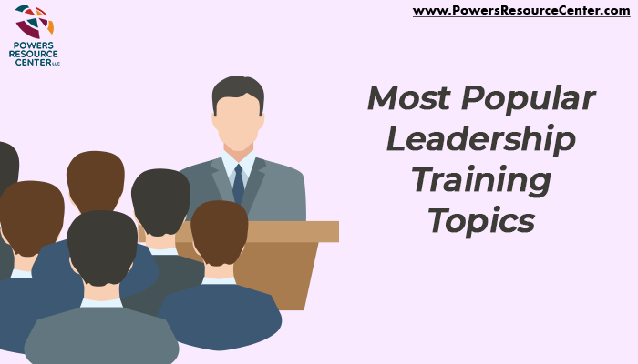 graphic that says most popular leadership training topics