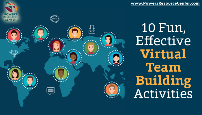 graphic that says 10 fun effective virtual team building activities