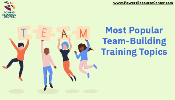 graphic that says most popular team building training topics